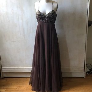 Vintage brown beaded gown.